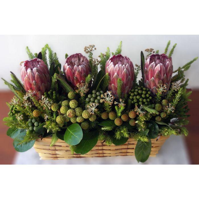Protea Long Basket Arrangement