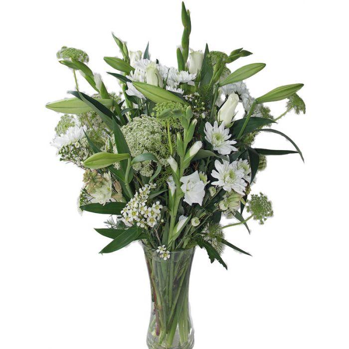 All White Flowers Vase Arrangement