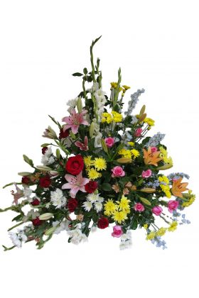 Bright and Cheerful Church Flower Arrangement