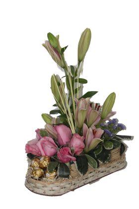 Chocolates and Lillies basket