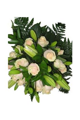 Cream bouquet of lilies and roses