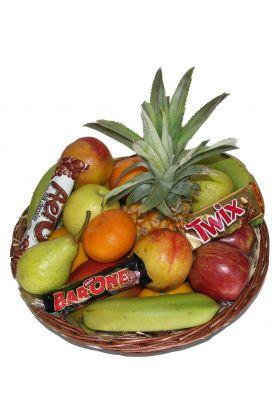 Fruit basket and chocolates
