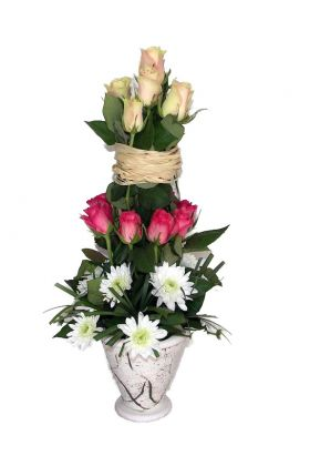 Florists Rose tower arrangement