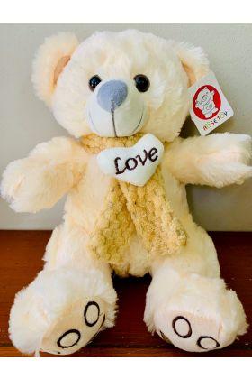 Cream Teddy Medium Love Scarf 35cmHx25cmW