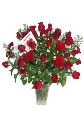 36 Long Stem Red Roses in Vase