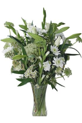 All White Flowers Vase Arrangement