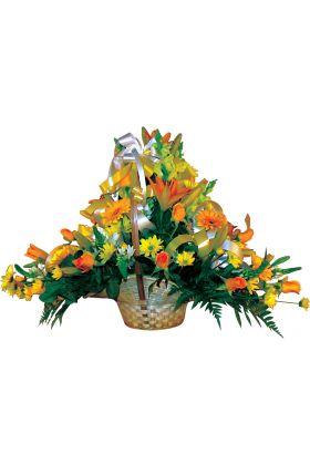 African Sunshine Yellow Flower Basket